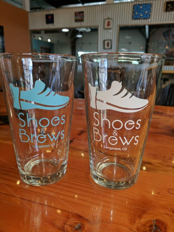 S&B Blue and White Pint Glasses